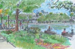 A sketch of the proposed changes to Colonial Lake looking from Beaufain Street. By Charleston Parks Conservancy